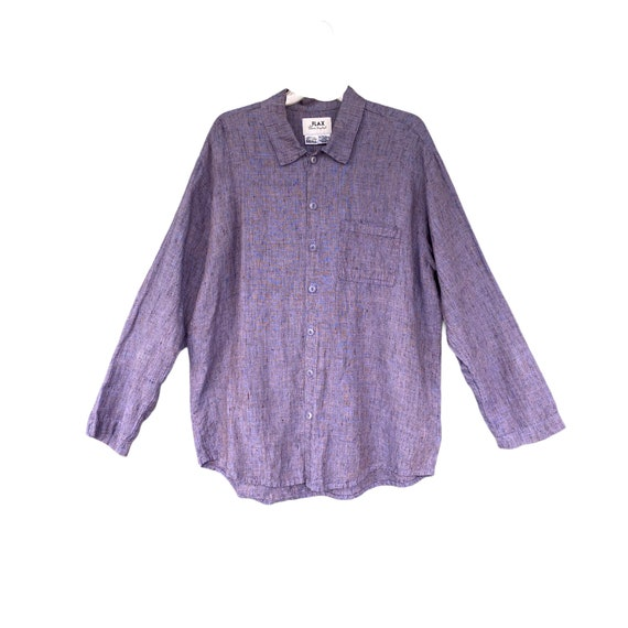 FLAX Engelhart Basic 2001 Long Sleeve Shirt -S- Purple Haze Linen