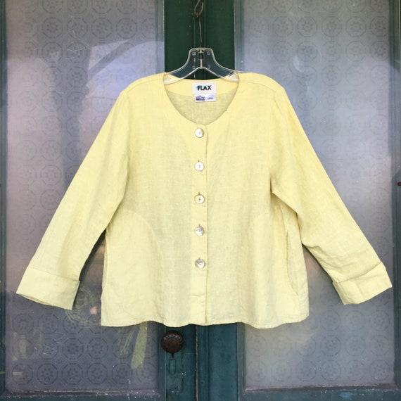 FLAX Designs 2005 Joyful Jacket -S- Yellow Dobby Linen