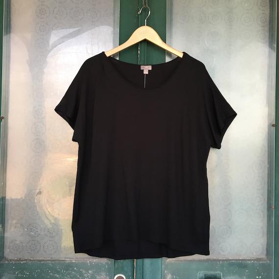 J. Jill Scoop Neck Short Sleeve Sleeve Tee -L- Black Rayon Spandex NWT