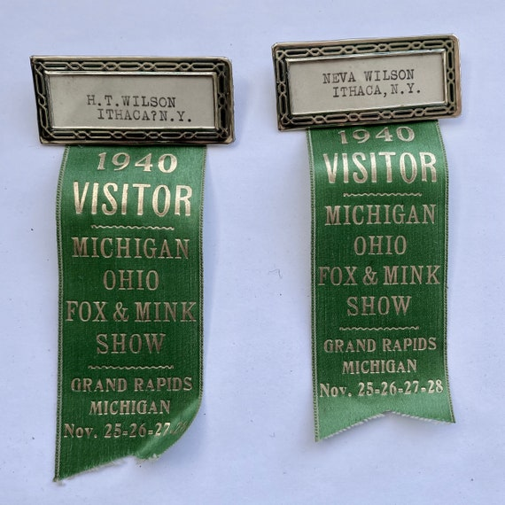 Pair of Vintage 1940 Visitor Ribbons for Michigan Ohio Fox and Mink Show Grand Rapids