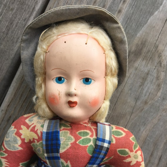 "Vintage 12"" Composition & Cloth Doll from Poland"