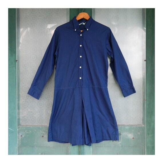 Vintage Gymsuit Romper Skort -S/M- Navy Blue