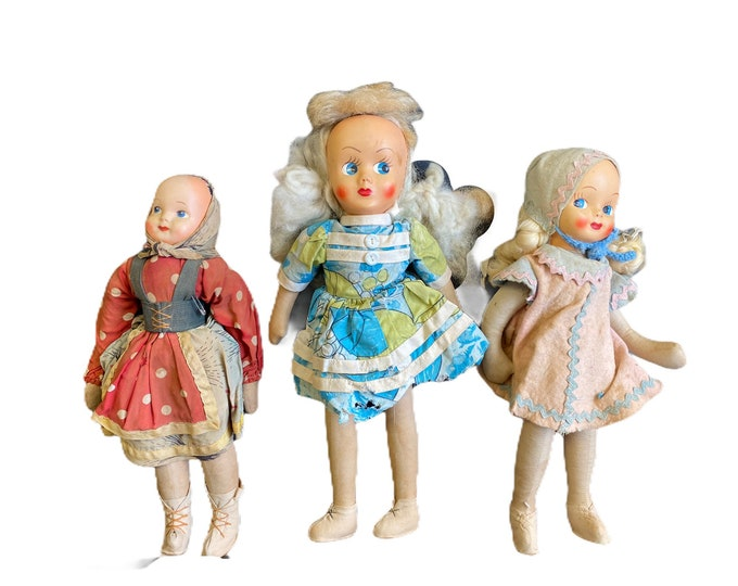 """Trio of Vintage Dolls 14"""" 15"""" 16"""" Jointed Cloth with Celluloid Heads Poland"""