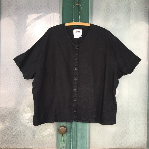 FLAX Engelhart Basic 2002 Basically Buttoned Blouse -2G/2X- Black Linen