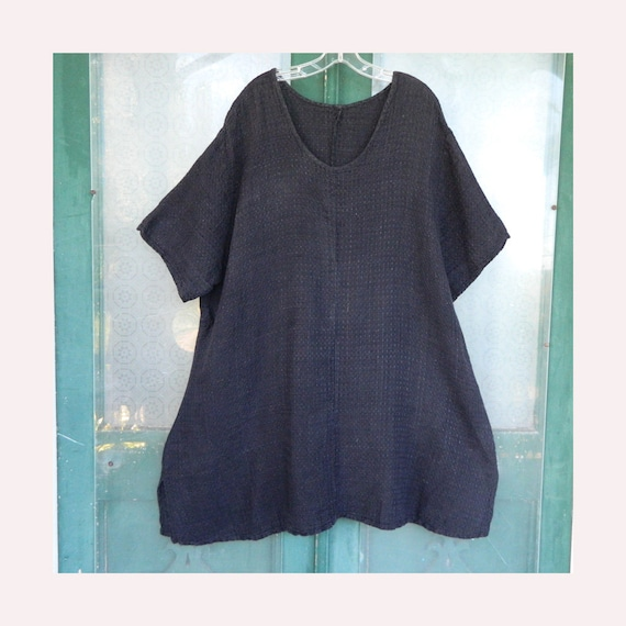 FLAX by Jeanne Engelhart Basic Accents Fitted Tunic -3G/3X- Black Weave Linen