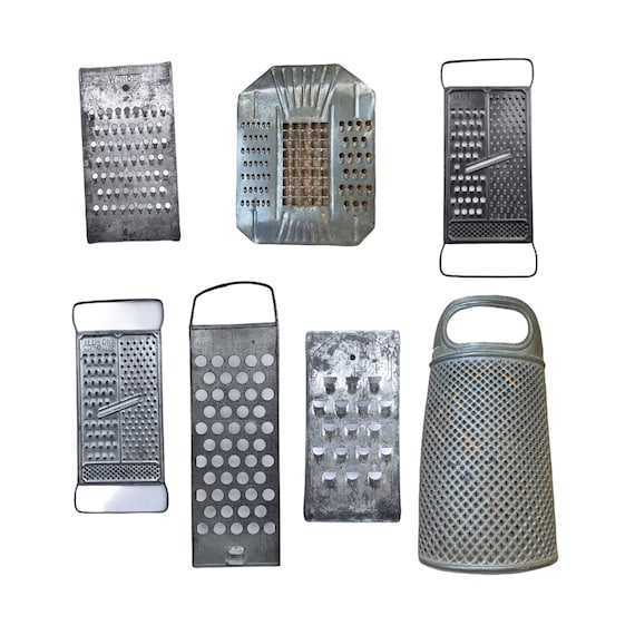 Collection of 7 Vintage Metal Graters