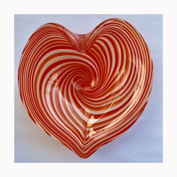 Vintage Heart Shaped Orange Swirl Dish