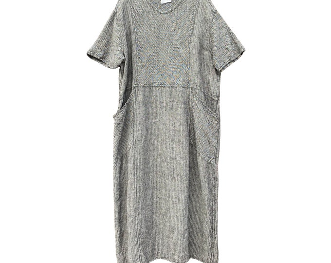 FLAX Engelhart Soleil 2000 Copyright Angle Dress -2G/2X- Black Windowpanes Linen