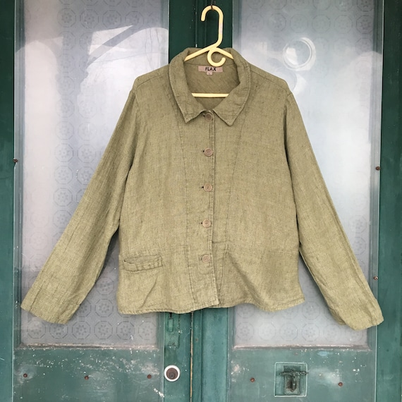 FLAX Designs Linen Jacket -L- Green Weave
