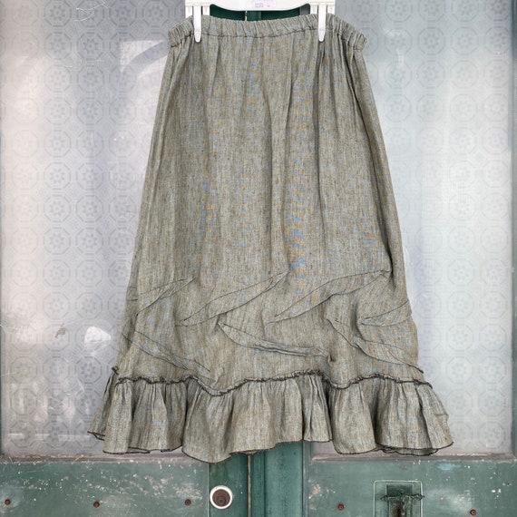 Sarah Clemens Ruffle Skirt -L- Yarn-dyed Green-Brown Linen