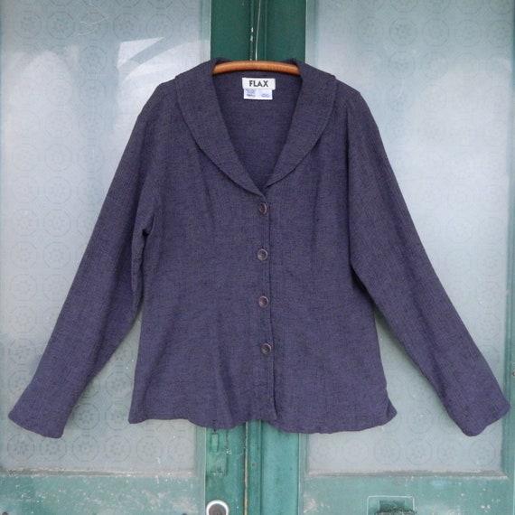 FLAX Designs Long Sleeve Blouse -S- Purple Cotton/Linen/Rayon
