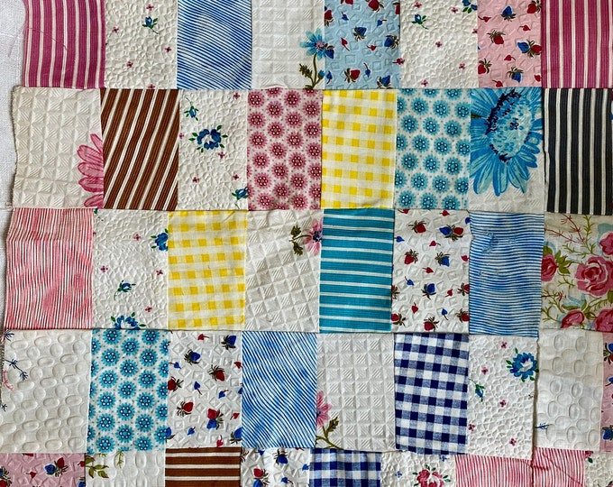 Vintage Doll Quilt Top Pillow Top