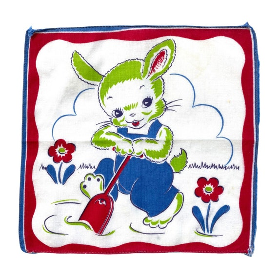 Vintage Garden Bunny with Shovel Novelty Childs Handkerchief