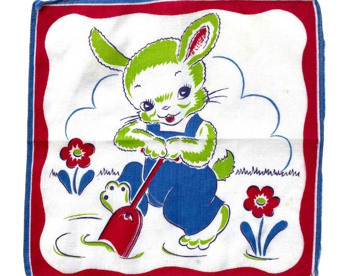 Vintage Garden Bunny with Shovel Novelty Childs Handkerchief