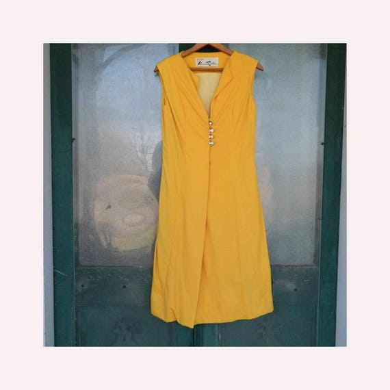 RESERVED Vintage 1980s Bill Blass for Maurice Rentner Sleeveless Cocktail Dress -8- Yellow