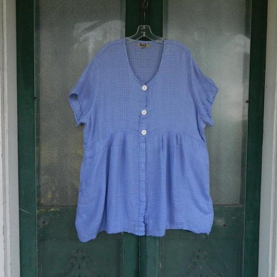 Flax Engelhart Summer 2009 Hidden Button Tunic -1G/1X- Bluebell Linen