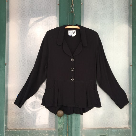 Angelheart Designs Engelhart Retro-Edwardian Peplum Jacket -S- Black Rayon