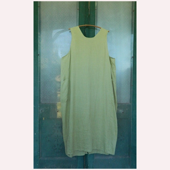 FLAX by Jeanne Engelhart Everybody's Satisfied Jumper Dress -2G/2X- Willow Green Linen