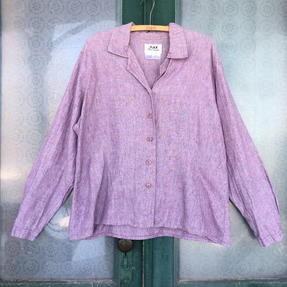 FLAX Basic 2002 Long-Sleeve Shapely Blouse -L- Yarn-Dyed Amethyst Linen