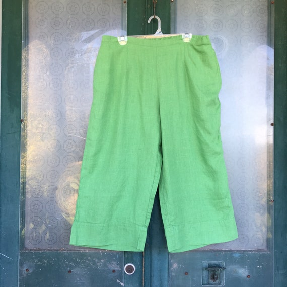 FLAX Designs Crop Pant -L- Green Linen