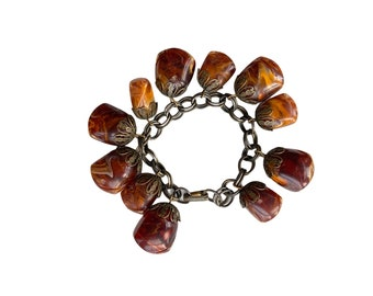 Vintage Chunky Marbleized Faux Amber Lucite Stone Bracelet