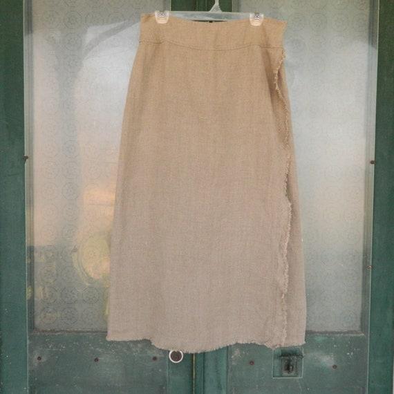 Neesh by DAR Fringe Wrap Skirt -L- Natural Linen