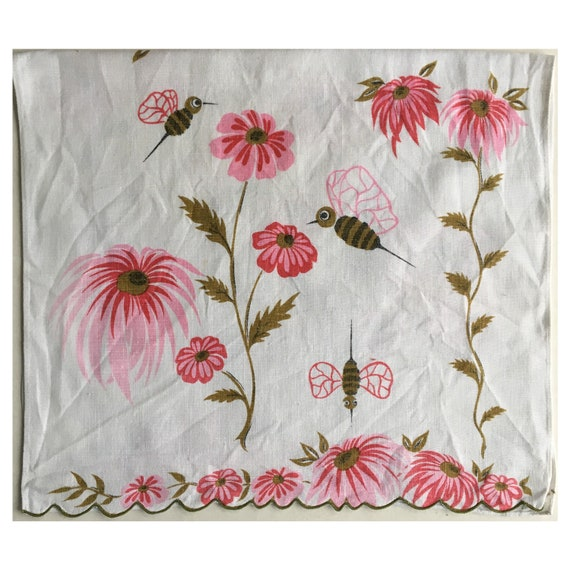 Vintage Pink flowers and Buzzing Bees Dishtowel