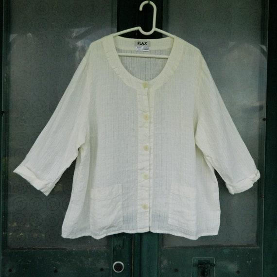 FLAX Engelheart 3/4 Sleeve Summer Jacket -1G/1X- White Weave Linen