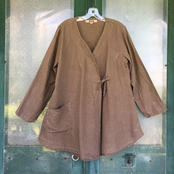FLAX Wrap Jacket -S- Medium Brown Linen