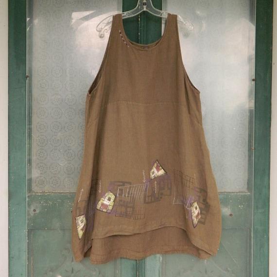 Blue Fish Art Wear Sleeveless Dress Jumper -2- Brown Linen