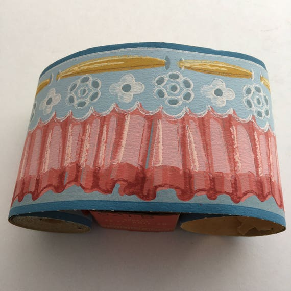 New Old Stock Duro Pre-Pasted Wall Border Pink Blue Gold 12' x 3""