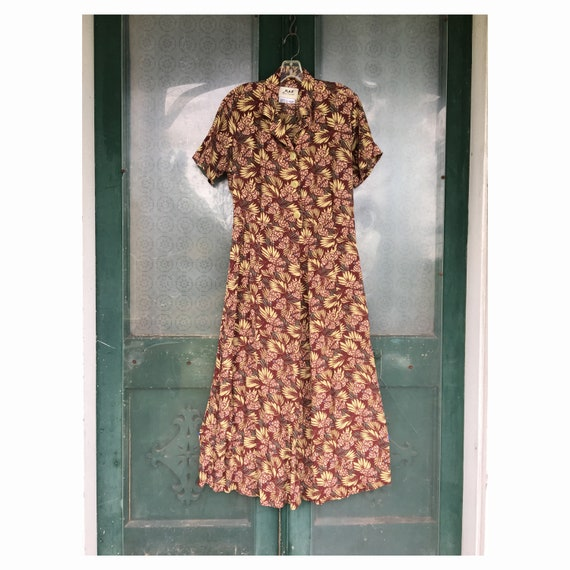 FLAX Engelhart Thinking Tropics Short-Sleeve Retro Dress -S- Sage Blossom Rayon