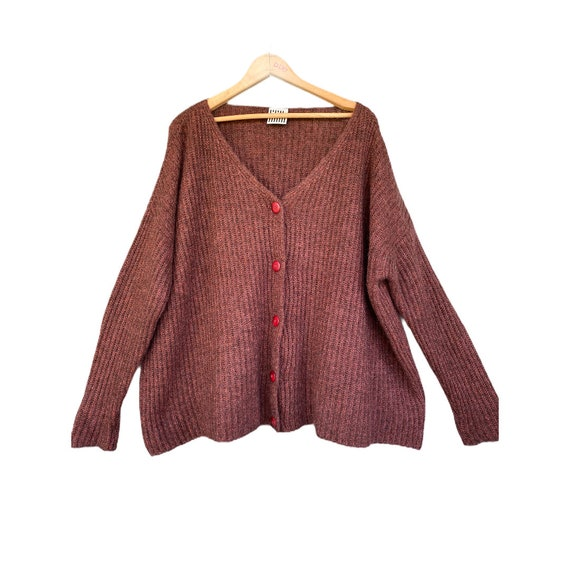 Lilith V-Neck Cardigan Sweater -OS- Chestnut Brown Rib Knit
