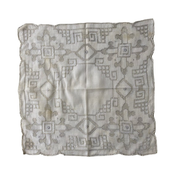 Vintage Elaborate Drawnwork Handkerchief