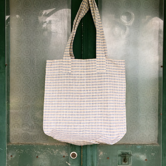 FLAX Engelhart Tote Bag - Chambray Blue and Oatmeal Stripe Linen
