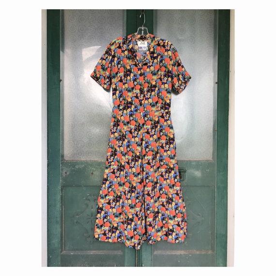 FLAX Engelhart Thinking Tropics Short-Sleeve Retro Dress -S- Wildflowers Rayon