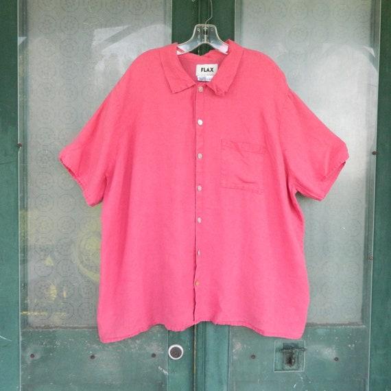 FLAX Engelhart Camp Shirt -1G/1X- Rose Petal Pink Linen