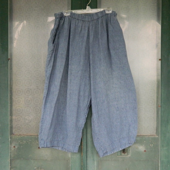 FLAX Engelheart Flood Pants -2G/2X- Light Denim Blue Linen