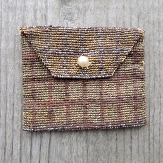 Vintage French Steel Cut Bead Coin Purse