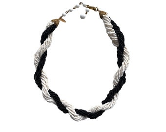 Vintage Miriam Haskell Black & White Twisted Multi Strand Seed Bead Necklace