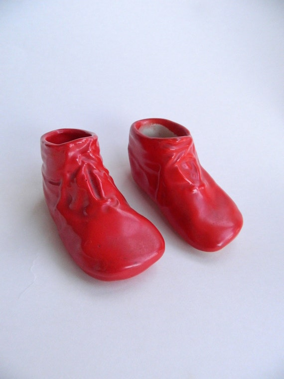 Vintage Red Ceramic Baby Shoes