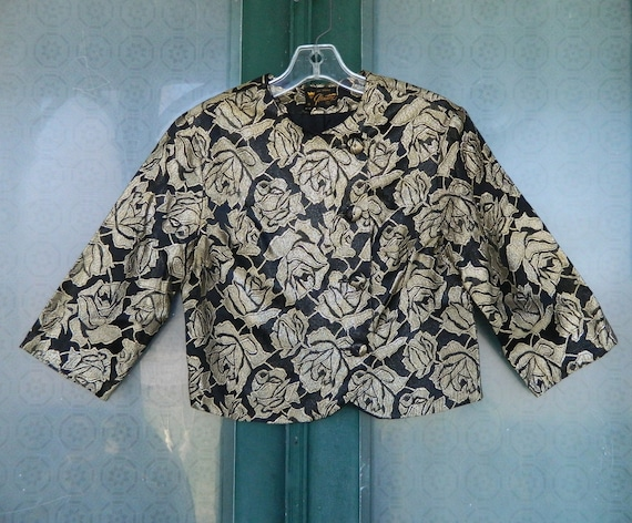 Vintage 1960s Cropped Evening Jacket Black with Gold Metallic Roses