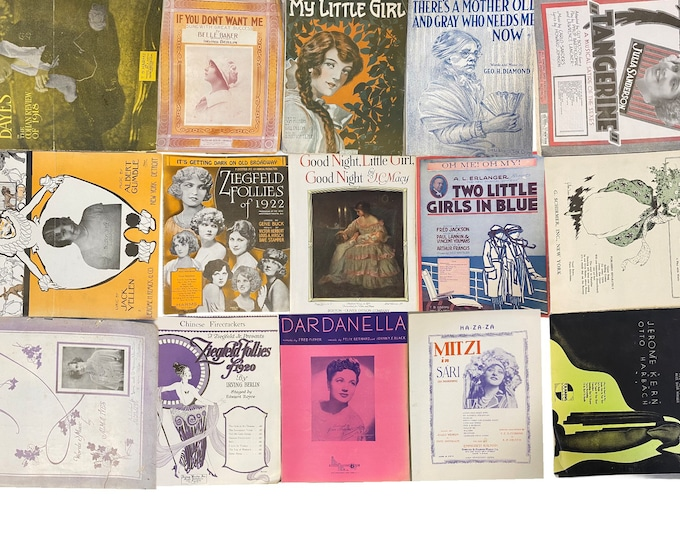 Lot of 15 Vintage Sheet Music Folders with Women Girls on Cover