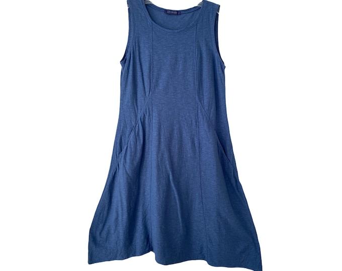 Cut Loose Blue Cotton/Linen Jersey Sleeveless Pullover Dress -S-