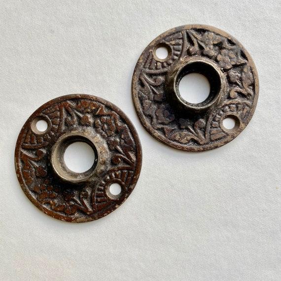 Pair of Ornate Vintage Doorknob Escutcheons Door Hardware