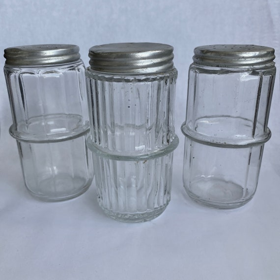 Trio of Original Hoosier Shaker Spice Bottles Jars with Lids