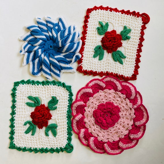 Collection of 4 Colorful Crochet Decorative Potholders