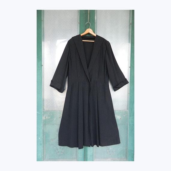 Vintage Dress Coat -L- Black Rayon