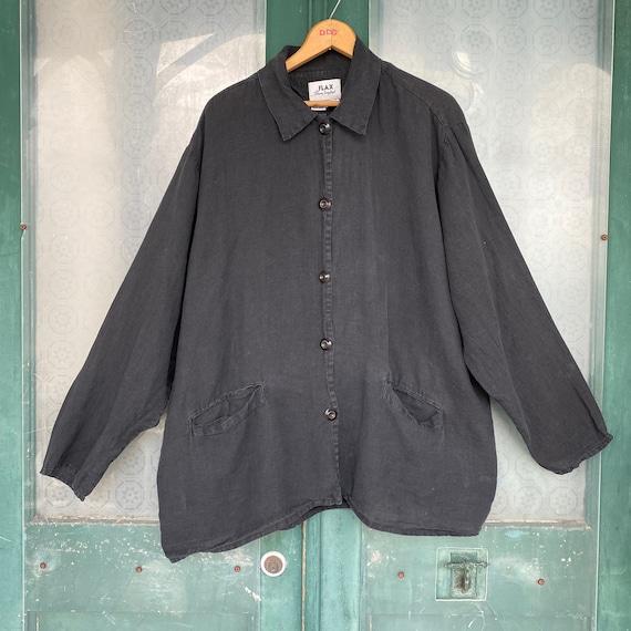 FLAX Engelheart Basic 1999 Journey's Jacket -L- Faded Black Handkerchief Linen