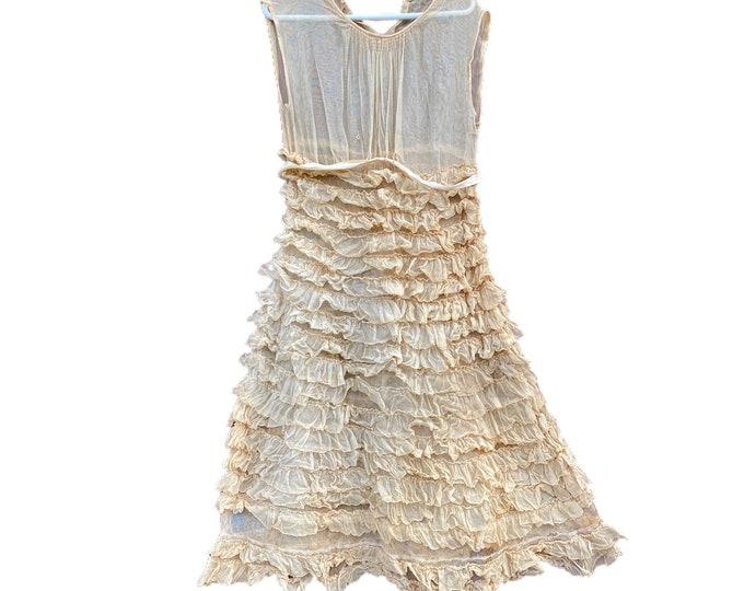 Vintage Ruffle Slip Dress Junior/Girl Size